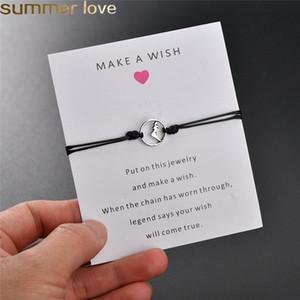 NOVO Faça um desejo cartão simples pulseira elegante 6 cores Wax Rope ajustável Cadeia Montanha Forma pingente de tecidos pulseiras para Mulheres Meninas