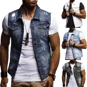Jacke Herbst-Winter-Demin Westen Cowboy dünnen Westen Herren Ärmel Jacke plus Größe Männer Art und Weise der beiläufige Kleidung