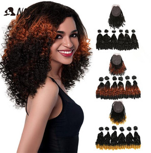 2020 New Noble Synthetic Hair Afro Kinky Curly Ombre Hair Bundles For Black Women Synthetic Hair Lace Front With Closure