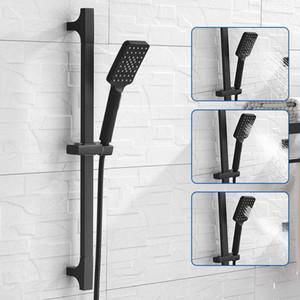 Alta calidad Negro ducha barra de desplazamiento montado en la pared de la ducha barra deslizante ajustable Rail Set 3 función de ducha estilo minimalista
