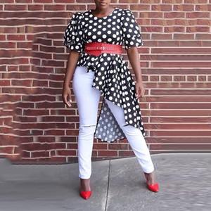 여성 여름 비대칭 최고 빈티지 블랙 폴카 도트 짧은 소매 높은 허리 Peplum 프릴이 불규칙한 블라우스 셔츠 인쇄