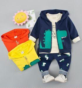 3PCS Vêtements pour garçons mis en coton Printemps Hoody Vêtements de bébé Tenues Dinosaur Casual Automne infantile Costume Sportwear Costume enfants