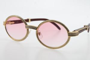 Atacado de madeira ouro dos óculos de sol de prata completa quadro menor Pedras óculos 7550178 Óculos de sol redondos New óculos designer com caixa