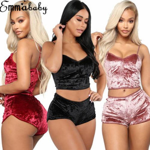 نساء الموضة الأمريكية 2pcs المخملية Sleepwar Sexy Spaghet Bread Velvet Shorts Pajama Set Ladies Sleepwar Pajama Party Set