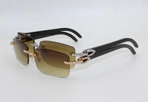 2020 gafas de sol calientes de lujo marca de diseño diamante grande cuerno de búfalo Gafas de sol de los hombres / de las mujeres de Brown sin rebordes Negro Buffalo Horn caja de vidrios Box