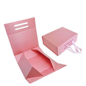 Stock rosa logotipo personalizado hecho a mano cartón magnético cajas plegables embalaje underwera ropa camisa bolsa zapatos cajas de regalo con mango de cinta