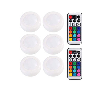 LED Puck Light 6Pcs RGB 12 Colors Wireless LED Under Cabinet Light with Remote Control Battery Powered Dimmable Touch Sensor Closet Light