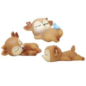3pcs Deer Figuren Spielzeug Netter Desktop Home-Dekor-Silikon-Kitz-Verzierung