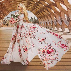 Sin mangas para mujer de las vacaciones de Bohemia vestidos florales manera imprimió los vestidos de las mujeres atractivas V vestidos de cuello
