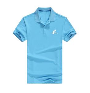 8664 ücretsiz kargo Standı Yaka Pembe yunus-polo gömlek numarası T-Shirt Adam Erkekler Tee Yaz Moda Yeni Tops