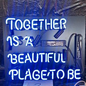INSIEME È UN POSTO BELLISSIMO DA ESSERE Neon Sign Light Personalizzato Bar Entertainment Decoration Glass LED Neon Lamp Light Metal Frame 17 '' 24 '' 30 ''