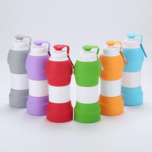 7colors 580ML 20oz BPA 무료 접이식 실리콘 물병 접이식 접이식 여행용 음주 스포츠 물병 머그컵 FDA Food Grade
