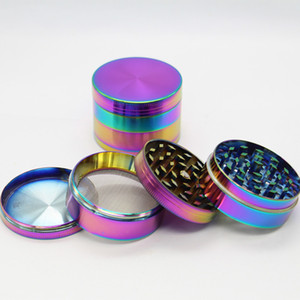 Alloy ice blue Tobacco Herb Grinder 4 Layer Parts Grinder Herb Smoking Spice Crusher With Teeth 40mm 50mm 60mm HH7-1365