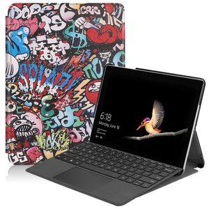 Para Microsoft Surface Go 2 / Surface Go Desenho Colorido tensão elástica textura Horizontal Virar Couro com suporte