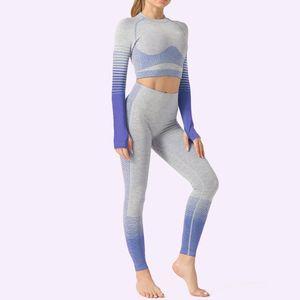new Vital Women Sport Suit Yoga Set Gym Workout Clothes Long Sleeve Fitness Crop Top + High Waist Energy Seamless Leggings