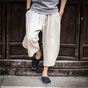 Mens Palazzo Parachute Calças algodão Hippie Yoga Balão Bloomer calças de algodão e linho soltas largas pernas da calça tamanho grande