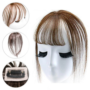 Clip invisible en Real Hair Bangs Toppers 3D Thin Mini Hand Tied Bangs Hair Extension para mujeres