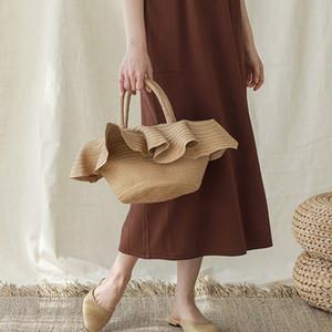 레이스 모자 모양의 밀짚 가방 새 보 휴대용 바구니 짠 가방 캐주얼 모자 핸드백