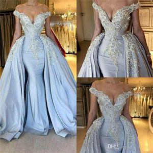 2020 Luxus Light Sky Blue Mermaid Prom Kleider mit langen Schleifen Perlen Kristalle Pailletten Schulterfrei Abendkleider Special Occasion Dress