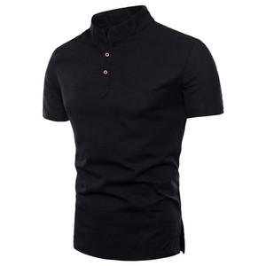 Hot Sell Solid Linen T-Shirt Stand Collar Men T Shirts Short Sleeve Cotton & Linen Tees Man Camiseta Masculinas Oversized 5XL