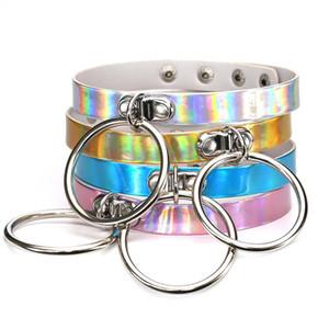 Gargantilla del arco iris láser PU cuero collar del círculo del metal del anillo del encanto Sub Slave Collar