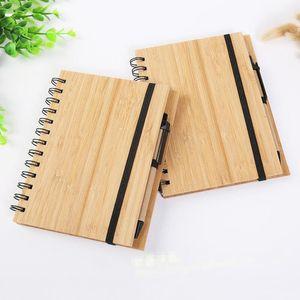 New Wood Bamboo крышки ноутбуков Спираль Блокнот с ручкой 70 листов переработаны линованной бумаги Подарки Путешествия Журнал LX9079
