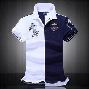 Toptan yaz giyim erkek tasarımcı basit dikiş POLO gömlek erkek karışık dokuma spor rahat ceket sokak kaykay T-shirt