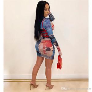 2020 mujeres vestidos de diseñador moda primavera perspectiva Digital impreso manga larga Bodycon vestidos de lujo para mujer vestidos