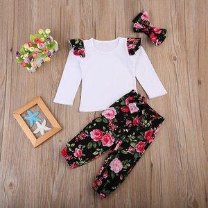 2018 Fashion Girls Set di abbigliamento per ragazze Fascia + Pantaloni floreali + Pantaloncini froal Sleeve 3Peeces Summer Floral Outfit Abbigliamento per bambini Set