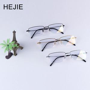 HEJIE Grade Man Pure Titan Brillengestelle Marke Halbrand Klarglas Langlebige Brillengestell Für Männer Größe 54-17-140mm Y9064