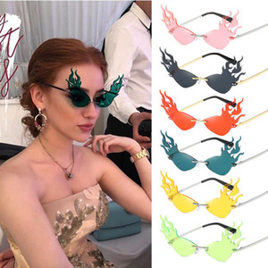 Moda fuego de llama Wave gafas de sol de las mujeres de los hombres sin rebordes Gafas de sol Gafas de tendencias Amplio Partido lateral gafas de sol de Calle