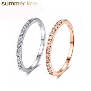 Kristal Zirkon Taş Yüzük Yarım Eternity Tiny Yüzük Beyaz Altın Gümüş Nişan Düğün Severler Takı