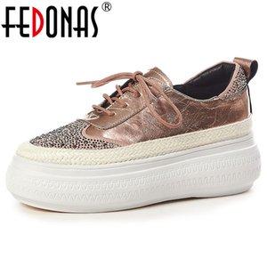 Fedonas 2020 Primavera Estate Confortevole appartamenti delle donne di Croce Shallow Legato Scarpe Donna casuale di qualità Vera Pelle Donne Sneakers