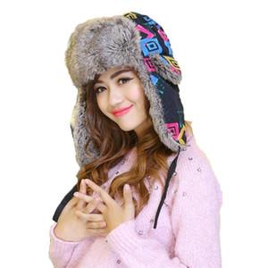 2017 femmes Bomber chapeaux d'hiver Imprimé Thicken Chapeaux coupe-vent avec Oreillettes Caps oreille russe Rabats neige