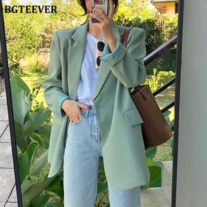 BGTEEVER schicke lose Light Green Frauen Blazer Sommer One Button Weibliche Jackett voller Hülse Outwear blaser femme 2020