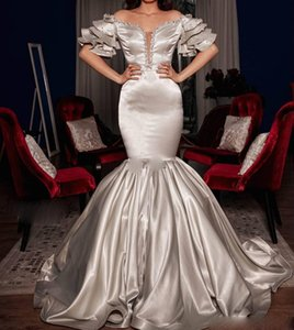 Silver Mermaid Evening Dresses Off Shoulder Sweep Train Tiered Beads Crystal Long Formal Prom Party Gowns vestidos formales para mujer