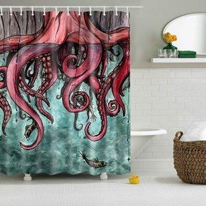 """Eco-friendly Comic Octopus Stampa Tende da doccia vasca da bagno prodotti da bagno Decor con Ganci 71x71"""" impermeabile"""