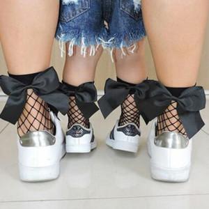 10 pares / 20cs Moda Infantil Baby Girl Cristal Rhinestone Fishnet Malha Meias Curtas Meia-calça Com fita Arco para crianças menina