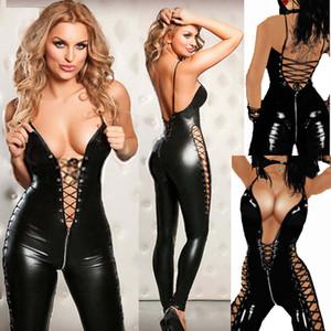 vernice lingerie sexy Zipper libero di trasporto tuta underback partito fila night club più sizedress