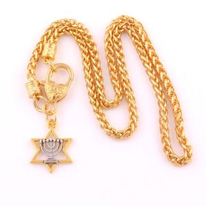 Collana con pendente ebreo religioso di Star Of David e Menorah Hexagon
