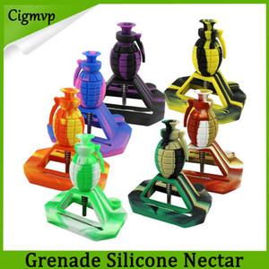 Neue Design Granate Wasserpfeife Silikon Nectar Collector Kits mit 14mm Joint mit GR2 Titan Nägel Silikonkappen Bohrinseln