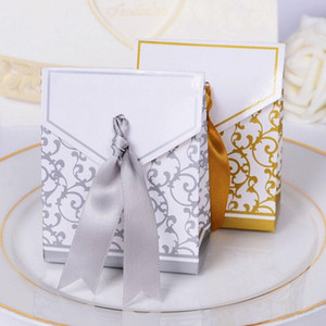 Creative Golden Silver Ribbon Wedding Favours Party Gift Candy Paper Box Cookie Candy gift bags Event Party Supplies c544