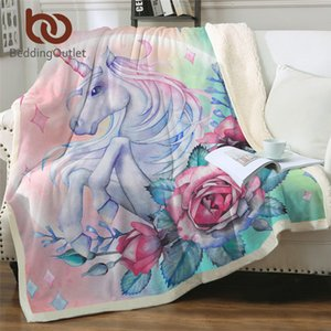 Bedding outlet Unicorn and Rose Sherpa Blank Girlly Floral Bedspread Pink Blue Green Plush Carton Beds Blanky mantas Y200417