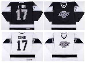 Vintage Los Angeles Kings Jersey # 17 Jari Kurri Hochwertige Schwarz Weiß 1991-1992 CCM Hockey Jersey