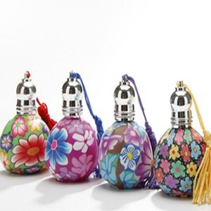15ml atacado vazio Polymer Clay óleo essencial Roll On Perfume Bottle Car Decoração Pendure