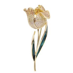 2019 haut de gamme coréenne broche tempérament de luxe accessoires de goupille de veste pour femmes élégante et délicate broche tulipe broche goutte huile broche personnalisé