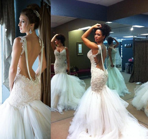 Vintage Backless sirène robes de mariée 2019 Robe De Novia Custom Made Dentelle Tulle Robes de mariée Acheter en ligne