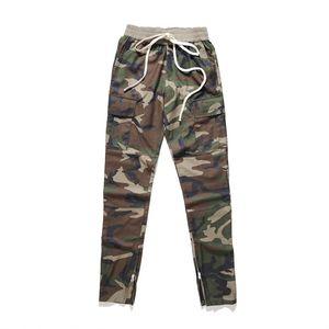Mens Hosen High Street Cargo Pants Camouflage Schwarze Hosen-elastische Taillen-Reißverschluss-Entwurf-beiläufige Mann Jogger Designer Hosen