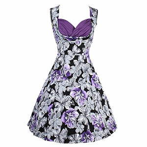 캐주얼 드레스 Samtree Women 's Vintage 1950s Audrey Hepburn V 넥 플로랄 파티 칵테일 스윙 드레스