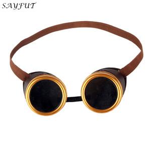 SAYFUT Gelb Braun Rahmenbrille Steampunk Schweißen Partei Goth Cosplay Vintage-Brillen